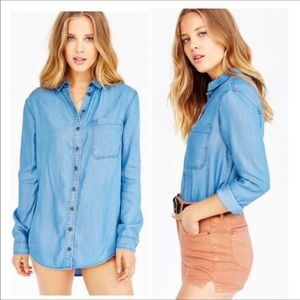BDG Oversized Boyfriend Chambray Button Down Top